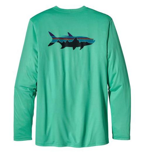 Gear patagonia men s graphic tech fish tee saltwater jaws for Patagonia fishing shirt